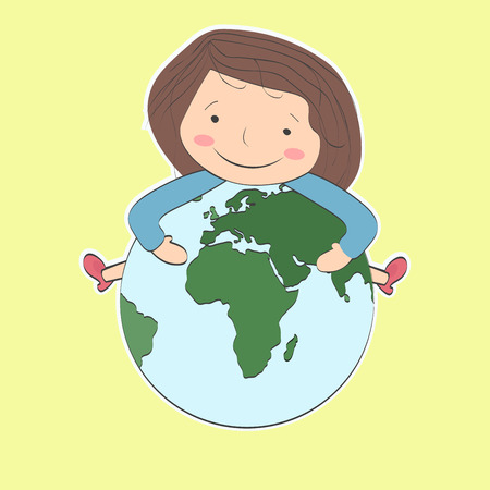 studing: The girl with brown hair holding a planet and smiling. The study of geography and other Earth sciences.