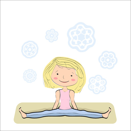 beginner: Seated Wide Angle Pose. Upavistha konasana. Basic position for yoga beginner. Flowers background