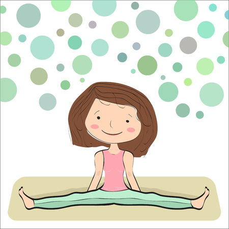 regulate: Seated Wide Angle Pose. Upavistha konasana. Basic position for yoga beginner. Bubbles background Illustration