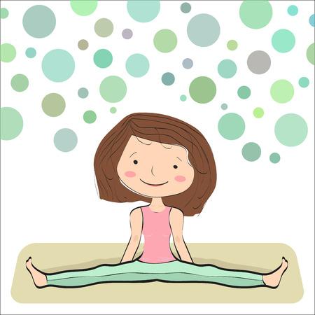 gran angular: Sentados Gran Angular Pose. Konasana Upavistha. Posici�n b�sica para principiantes de yoga. Burbujas de fondo
