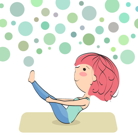 Paripurna navasana. Boat. Exercise to maintain good physical condition. Bubbles background