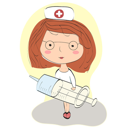 nurse injection: Young nurse holding a syringe to make an injection Illustration