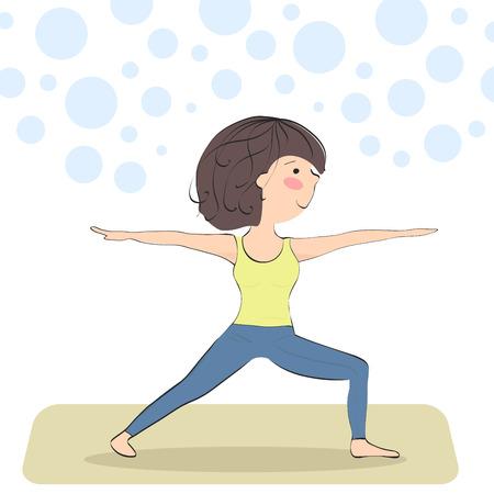 virabhadrasana. warrior pose. yoga pose for beginners  イラスト・ベクター素材