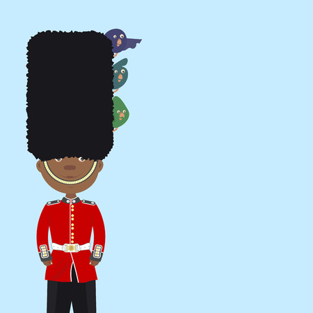 beefeater: English guard beefeater black man is on duty. Funny birds sitting in his cap. Background