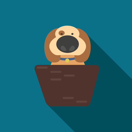 animal shelter: Take the animal from a shelter. puppy with a big nose sitting in a basket. Illustration