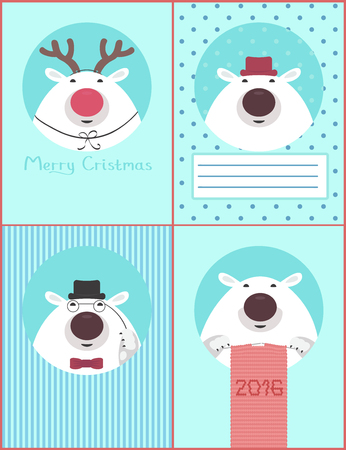 getting ready: Greeting cards with polar bears getting ready for the holiday: knit scarf, put on festive costume and hat
