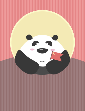 cartoon window: Giant Panda with Chinese flag in his hands. The friendly character of the country Illustration