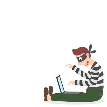 ladron: Ladrón en una máscara de robo de información personal a través de Internet Vectores