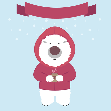 fur hood: Polar bear in a jacket with a hood drinking hot coffee on the background of falling snow Illustration