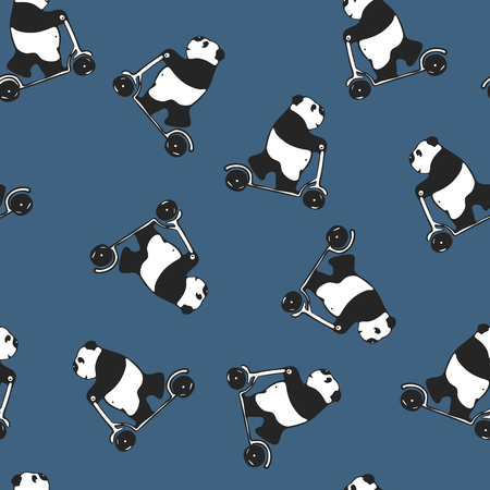 melancholy: Funny melancholy giant panda riding a scooter