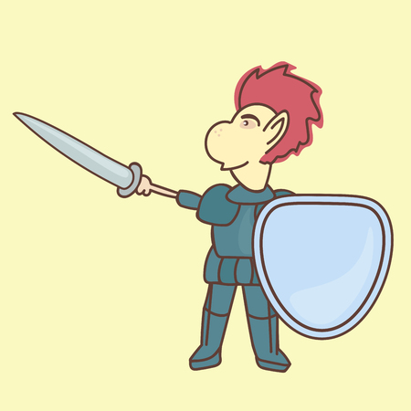 carries: Brave Knight drew his sword and carries a shield