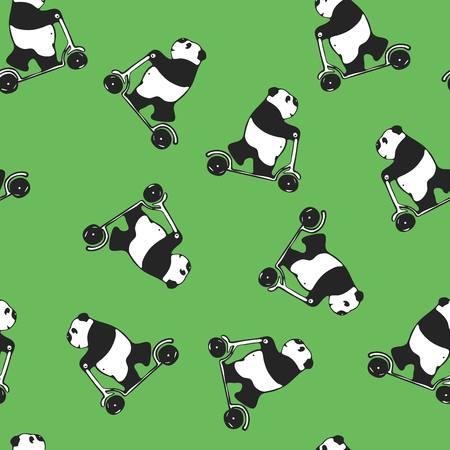 melancholy: Funny melancholy giant panda riding a scooter