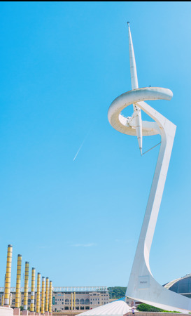 Barcelona, ??Spain - September 11, 2016: Communication tower in olympic stadium park of Barcelona.