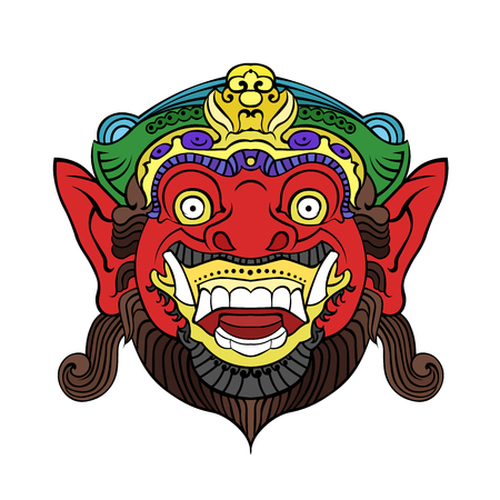 Traditional Balinese mask of the terrible mythical character. Illustration
