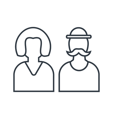 Male and female icon vector for restroom or wc. Line vector art