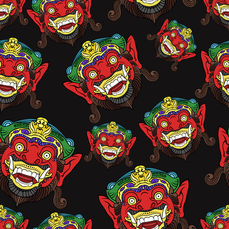 Traditional Balinese mask of the terrible mythical defender pattern for postcards or textiles.