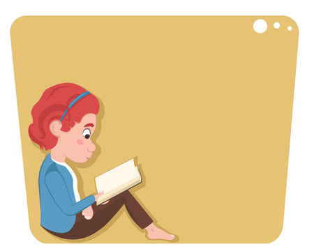 Little caucasian girl sitting and reading a book isolated on white background.