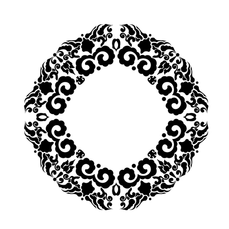 Black floral ornamement in circle form for tattoo or decorative design
