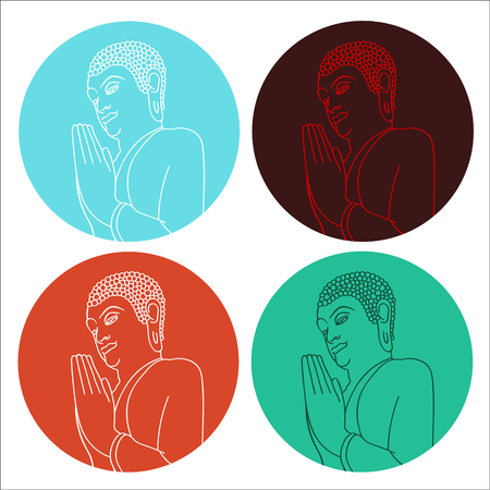 Silhouette of pray Buddha in circle in different colors. Vector illustration