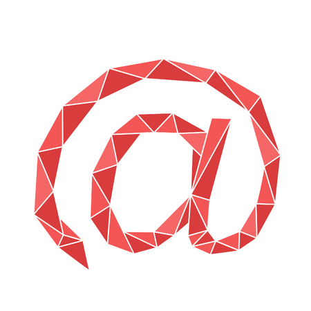 Red polygon sign of email. Concept of communication and writing letter