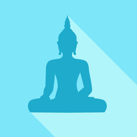 Silhouette of sitting Buddha with sjhadow on blue background Illustration