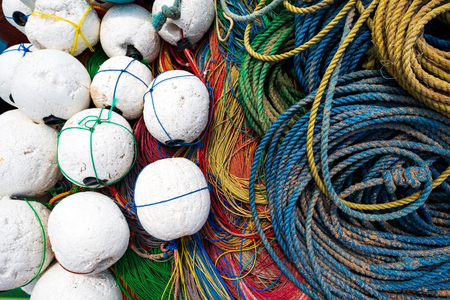 Close up of rope fishing net and ropes