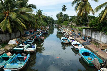 Sri Lanka, Negombo May 15 2018: Dutch Channel with boats