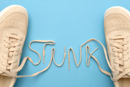 Women sneakers with laces in stunk text.