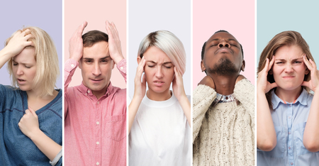 Collage of young men and women suffering from severe headache