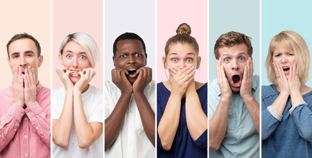 Surprised and astonished people receiving shocking unexpected news