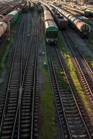 Cargo railway transportation industry. Railway yard from top view. Stock Photo - 124779790