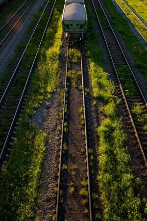 Cargo railway transportation industry. Railway yard from top view.