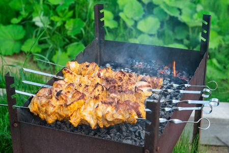 Shish kebab in process of cooking on open fire