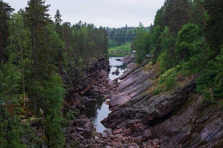 View on Kruununpuisto park in Imatra and spillway of Imatrankoski