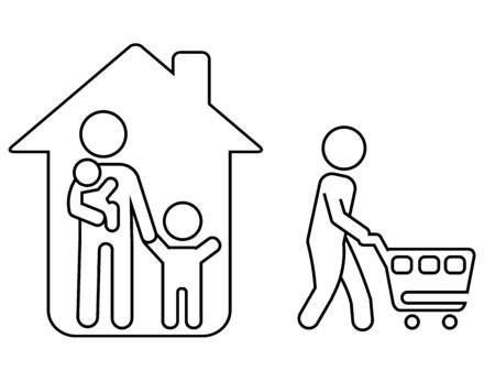 Onle one family member can go to the shop. Strict rules during coronavirus quarantine. Stay home concept.