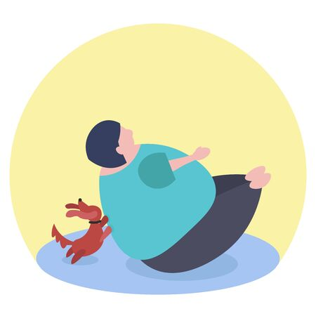 Fat funny caucasian woman doing Paripurna Navasana or Full Boat Pose. Her dog is helping her woth exercise. Illustration in vector format