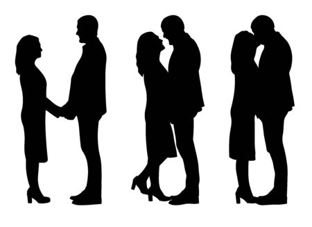 Three happy couple holding each other, kissing and looking in eyes. Black silhouette