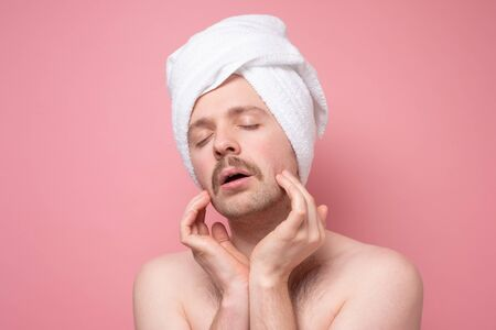 man beautify making face massage for better male macho appearence