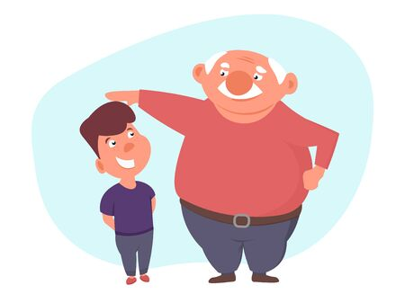 child w receives praise from his grandfather. Father stroked hos son head or measure his height. cartoon vector illustration