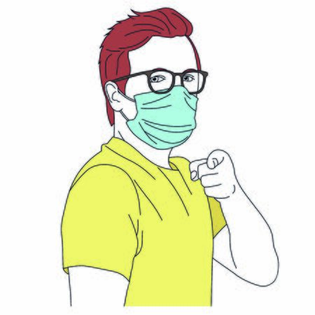 Vector portrait of man in medical mask pointing at you with finger