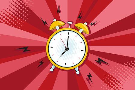 Alarm clock ringing at the morning. Comic pop art retro style vector illustration style