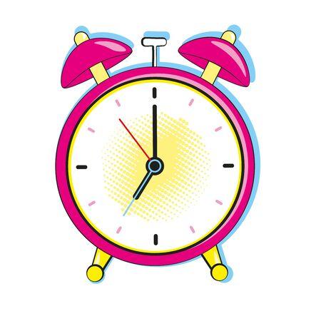 Alarm clock ringing at the morning. Comic pop art retro style