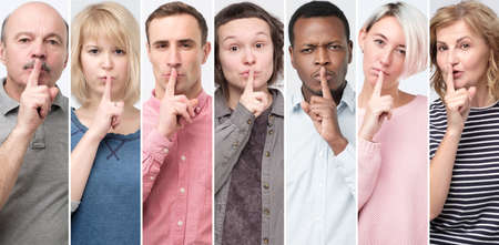 Collage of portrait people of different age making silence gesture, taking it in secret.
