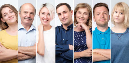 Collage of young and senior people smiling confident at camera. Stockfoto