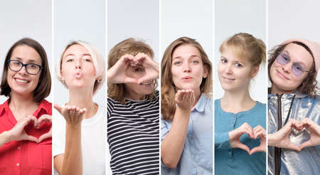 Collage of female portraits women sending air kiss or showing heart gesture.