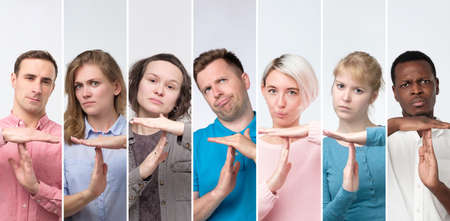 Collage of portraits millenial young men and women showing time out hands gesture. Stockfoto