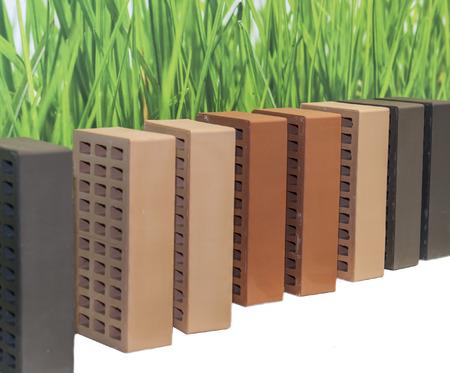 brick isolated wall background white photo