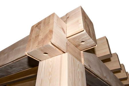 wooden, construction, isolated, beams, roof Stock Photo