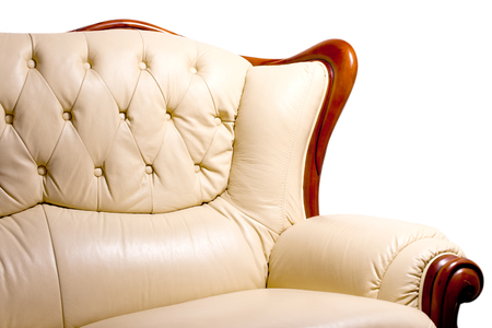 Living room furniture leather couch Stock Photo