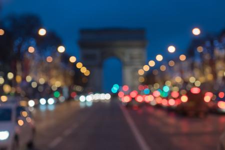 애비뉴 데 챔피언 파리에서 아크 드 triomphe를 선도하는 크리스마스 조명과 함께 파리 스톡 콘텐츠